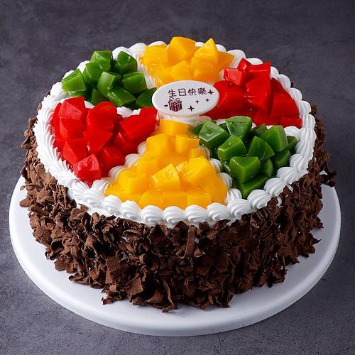 黑色巧克力碎水果蛋糕模型仿真2020新款 生日假蛋糕样品t327