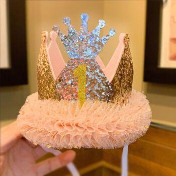 生日蛋糕帽子生日帽子儿童皇冠女宝宝一周岁蛋糕装饰大人头饰男孩派对
