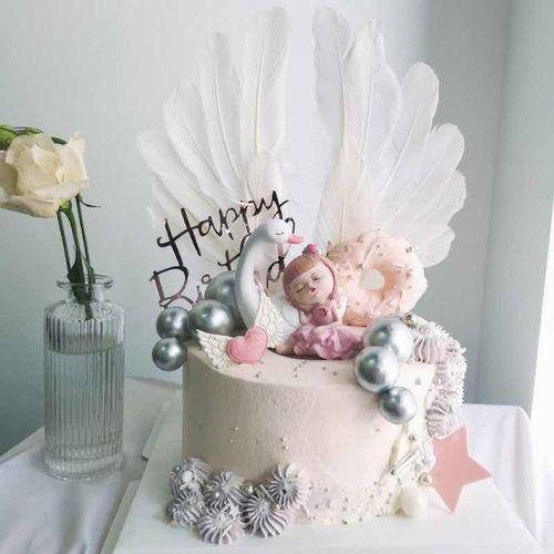 儿童节生日蛋糕装饰 粉蓝天鹅女孩 酣睡可爱人偶摆件