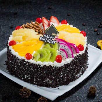 水果生日蛋糕同城配送水果夹心 10英寸