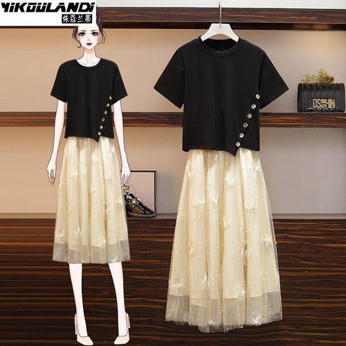 连衣裙套装女2021春夏季新款微胖妹妹显瘦减龄洋气大码女装时尚半身裙