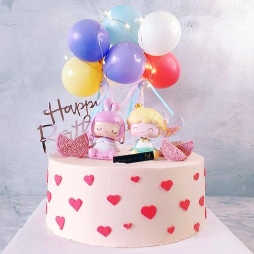 硬奶油双胞胎生日蛋糕儿童男孩女孩创意可爱重庆蛋糕