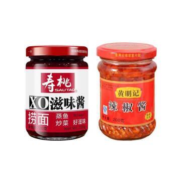 寿桃牌滋味酱 寿桃牌xo滋味酱黑椒牛肉粒 瓶装牛肉酱海鲜酱调味酱火锅