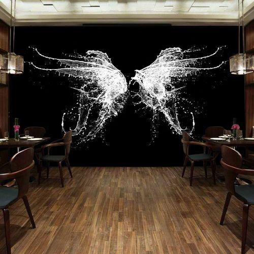 怀旧复古工业个性壁画ins墙纸水泥背景墙网客厅壁纸红潮风翅膀3d