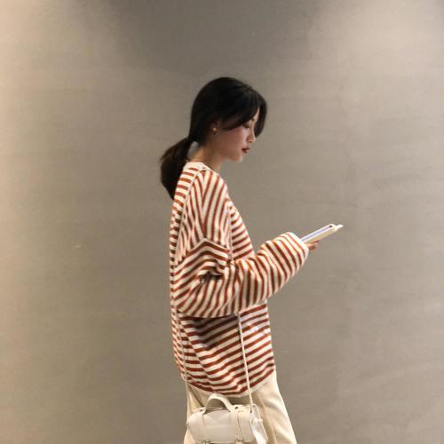 灯芯绒孕妇针织条纹春秋套装网红裤两件萝卜网红潮