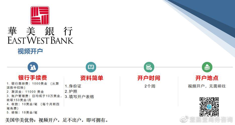美国华美银行网址:www.eastwestbank.com四.美国华美银行开户流程1.